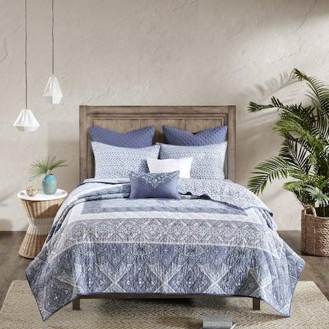 Urban Habitat Aria Blue 7-piece Cotton Reversible Coverlet Set