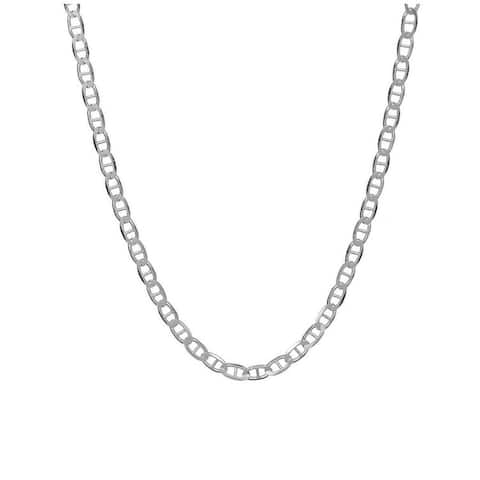 Pori Jewelers 925 Sterling Silver High Polished 3.5MM Flat Marina 080 Chain necklace