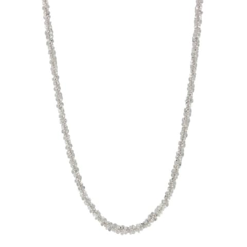 Pori Jewelers 925 Sterling Silver High Polished Diamond cut Rock Chain necklace