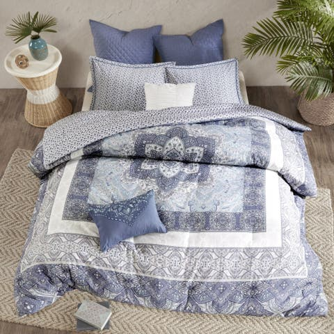 Urban Habitat Aria Blue 7-piece Cotton Reversible Duvet Cover Set - Comforter Insert Not Included
