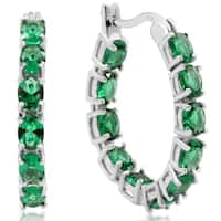 3 1/3ct TGW Oval Created Emerald Inside-Out Hoop Earrings In Sterling Silver - Green