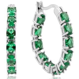 3 1/3ct TGW Oval Created Emerald Inside-Out Hoop Earrings In Sterling Silver - Green
