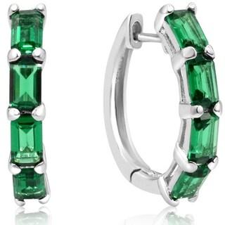 3 1/4ct TGW Emerald Cut Created Emerald Hoop Earrings In Sterling Silver - Green
