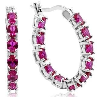 3 1/3ct TGW Oval Created Ruby Inside-Out Hoop Earrings In Sterling Silver - Red