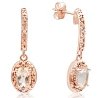 3/4ct TGW Morganite and Diamond Oval Drop Earrings In 14K Rose Gold Over Sterling Silver - Pink