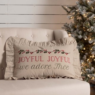 Tan Farmhouse Holiday Decor VHC Carol Joyful 14x22 Pillow Cotton Text Embroidered Chambray (Pillow Cover, Pillow Insert)