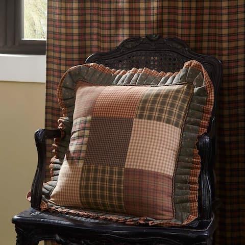 Green Primitive Bedding VHC Crosswoods 18x18 Pillow Cotton Patchwork (Pillow Cover, Pillow Insert)