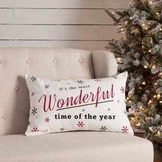 White Farmhouse Holiday Decor VHC Emmie Wonderful Time 14x22 Pillow Cotton Text Stenciled Canvas