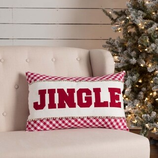 Red Farmhouse Holiday Decor VHC Emmie Jingle 14x22 Pillow Cotton Text Appliqued Bells Canvas