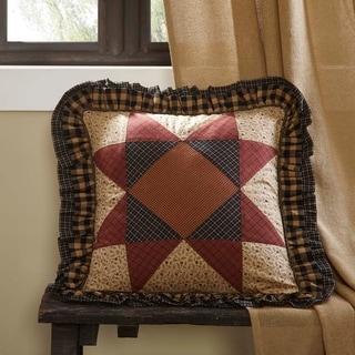Tan Primitive Bedding VHC Maisie 18x18 Pillow Cotton Patchwork (Pillow Cover, Pillow Insert)
