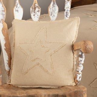 Farmhouse Bedding VHC Cotton Burlap Star 18x18 Pillow Distressed Appearance