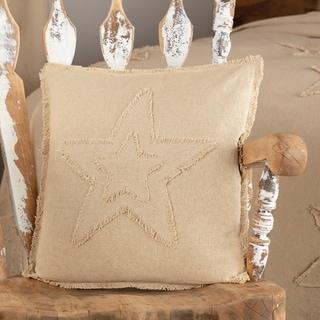 Burlap Natural Star Pillow 18x18