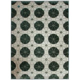 Designer Tabriz Cream/Green Wool Hand-knotted Area Rug (7'7 x 10'9)
