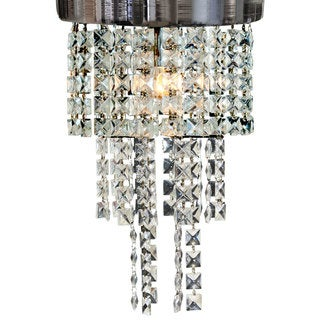 "Royal Designs Peyton Clear Crystal 1 Light Socket Chrome Finish Flush Mount Ceiling Light, 12"" Diameter"
