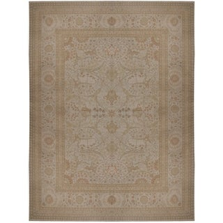 Camel/Green/Ivory Wool Hand-knotted Tabriz Area Rug (8'8 x 12'5)