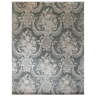 Handknotted Designer Wool and Silk Lav Rug (7'11'' x 10'1'') - 7'11'' x 10'1''