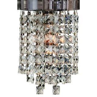 "Royal Designs Peyton Clear Crystal 1 Light Socket Chrome Finish Flush Mount Ceiling Light, 8"" Diameter"