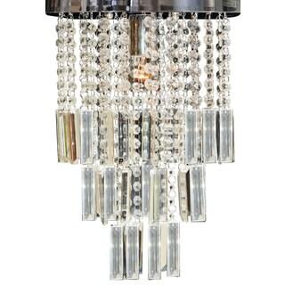 "Royal Designs Lola Clear Crystal 1 Light Socket Chrome Finish Flush Mount Ceiling Light, 12"" Diameter"