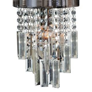 "Royal Designs Lola Clear Crystal 1 Light Socket Chrome Finish Flush Mount Ceiling Light, 8"" Diameter"