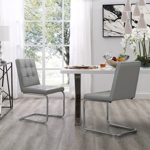 Dillinger Armless Tufted Dining Chair, Chrome or Gold Frame (Set of 2) - N/A