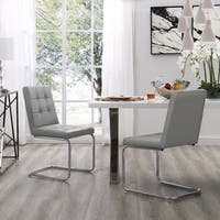 Dillinger Armless Dining Chair (Set of 2)  Tufted with Chrome Frame
