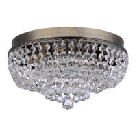Royal Designs Clear K9 Quality Elegant Antique Brass Round Manon Crystal Ceiling Flush Mount -2 Lights (FM-5005-12-PB)