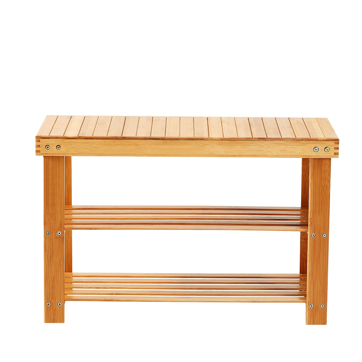 Somette New Ridge Home Natural Bamboo Shoe Rack Bench 2 T...