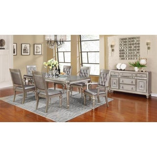 Royale Metallic Silvertone Asian Hardwood 8-piece Dining Set