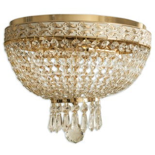 Royal Designs Clear K9 Quality Elegant Filigree/White Round Crystal Ceiling Flush Mount-2 Lights (FM-5001FG/WH) - 9' x 12'