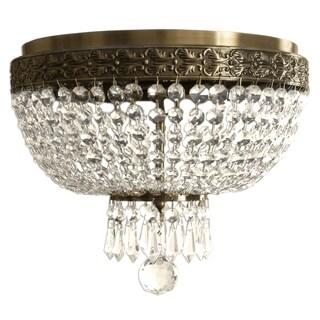 Royal Designs Clear K9 Quality Elegant Antique Brass Round Crystal Ceiling Flush Mount-2 Lights (FM-5001AB)