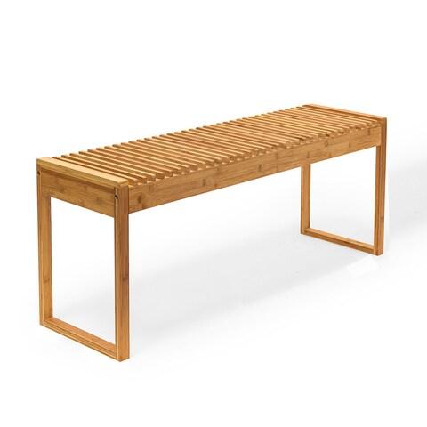 NewRidge Home Natural Bamboo Entryway Seat, Bench