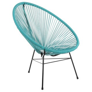 Joseph Allen Acapulco Turquoise Blue Vinyl/Steel Indoor/Outdoor Patio Lounge Chair