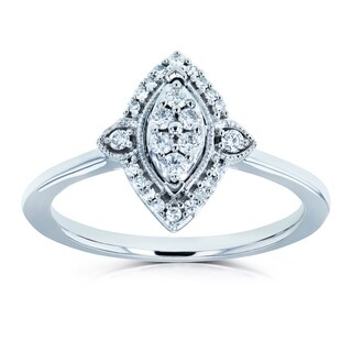Annello by Kobelli 10k White Gold 1/6ct TDW Diamond Cluster Marquise-Shaped Ring