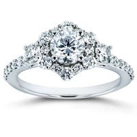 Annello by Kobelli 14k White Gold 1 1/8ct TDW Diamond Starry Halo Floral Antique Engagement Ring