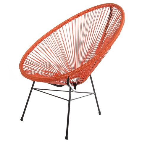 Acapulco Papasan Indoor / Outdoor Patio Lounge Chair, Orange