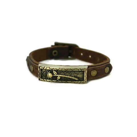 Studded Rose Leather Essential Oil Bracelet Unisex
