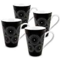 Konitz Set of 4 Black and White Burst Mugs