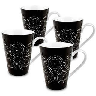 Konitz Set of 4 Black and White Burst Mugs