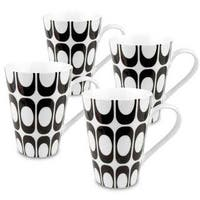 Konitz Set of 4 Black and White Groove Mugs