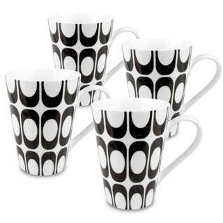 Konitz Set of 4 Black and White Groove Mugs