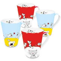 Konitz Set of 4 Assorted Globetrotter Cat and Dog Mugs