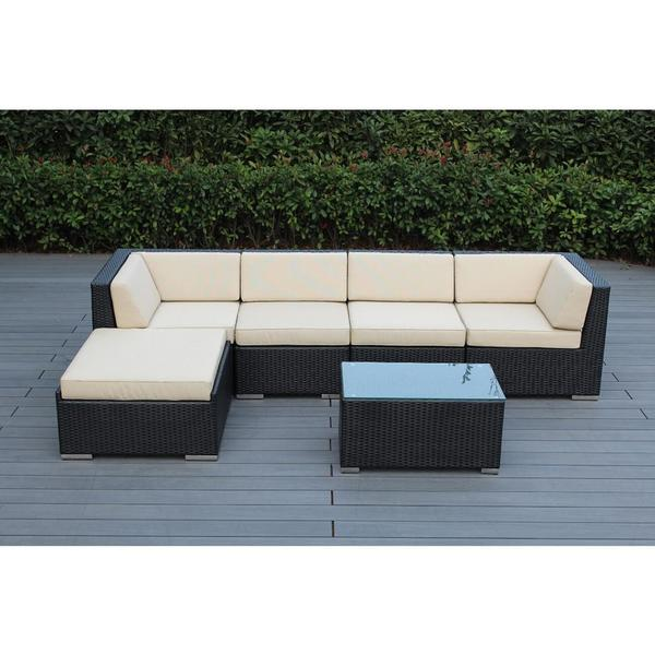 Shop Ohana Outdoor Patio 6 Piece Black Wicker Sofa Sectional With
