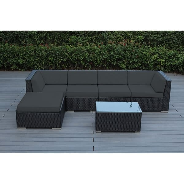 Shop Ohana Outdoor Patio 6 Piece Black Wicker Sofa Sectional ...