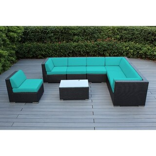 Ohana Outdoor Patio 8 Piece Black Wicker Conversation Set with Cushions (More options available)