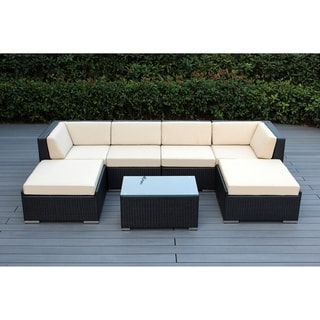Ohana Outdoor Patio 7 Piece Black Wicker Conversation Set with Cushions