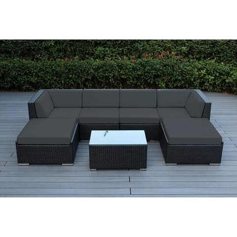 Ohana Black Wicker Outdoor 7-piece Conversation Set