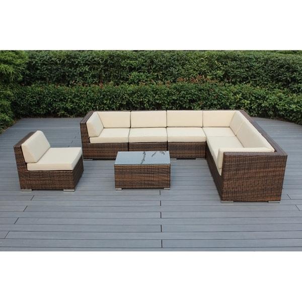 Ohana Patio Furniture Reviews.Shop Ohana Outdoor Patio 8 Piece Mixed Brown Wicker Conversation Set