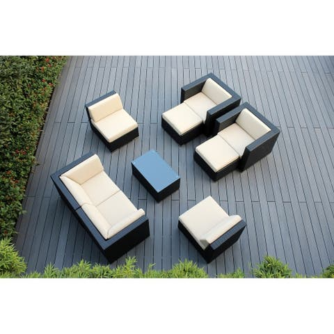 Ohana Outdoor Patio 9 Piece Black Wicker Conversation Set with Cushions