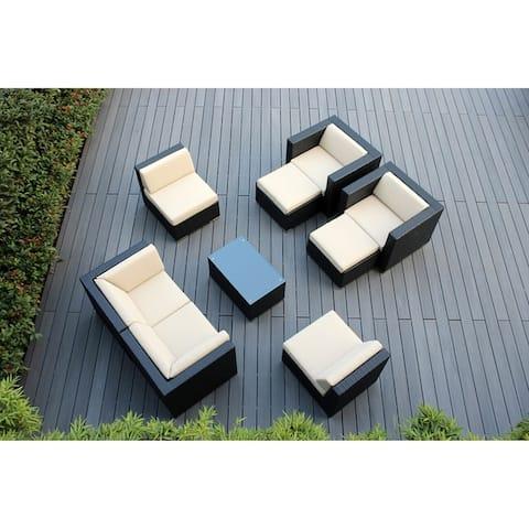 Ohana Outdoor Patio 9 Piece Black Wicker Conversation Set with Cushions
