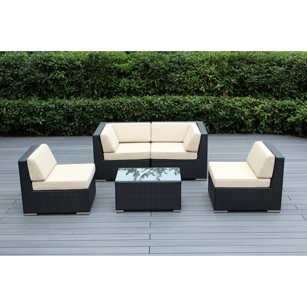 Ohana Outdoor Patio 5 Piece Black Wicker Conversation Set With Cushions